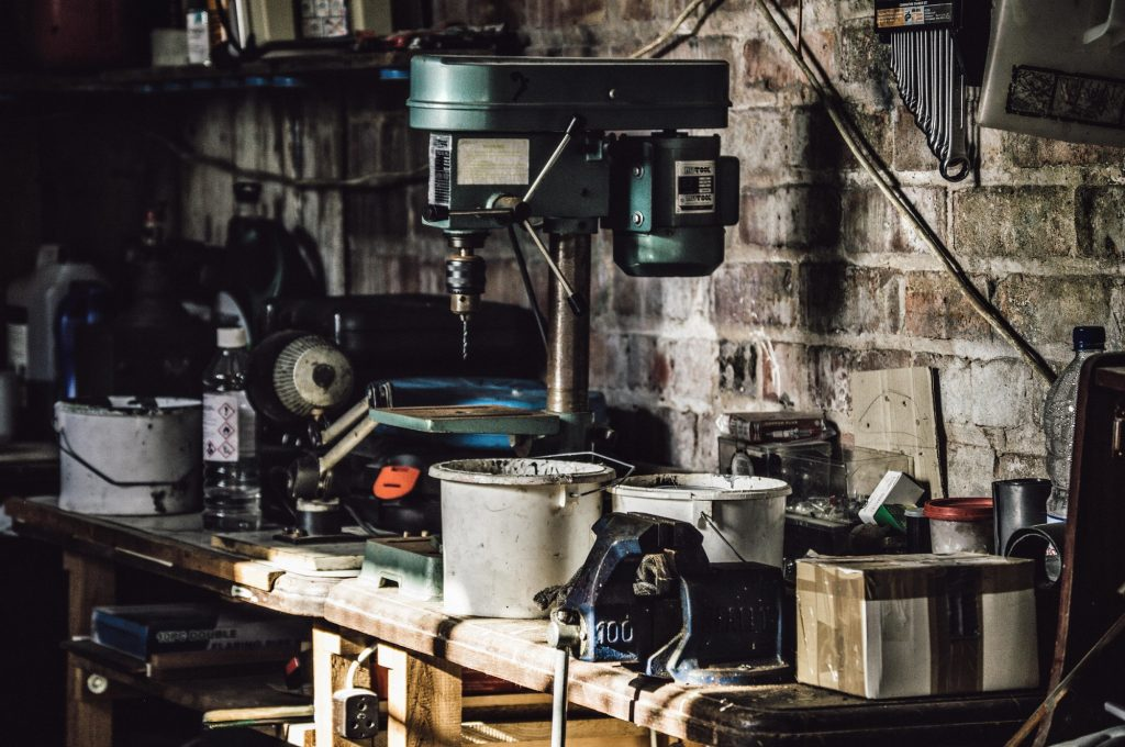 Garage and tools on shelves