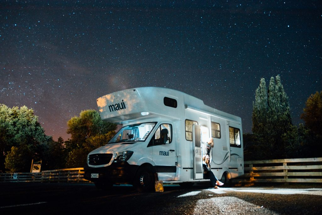 Caravan at night, excess moisture is bad for caravans and a dehumidifier can remedy the issue